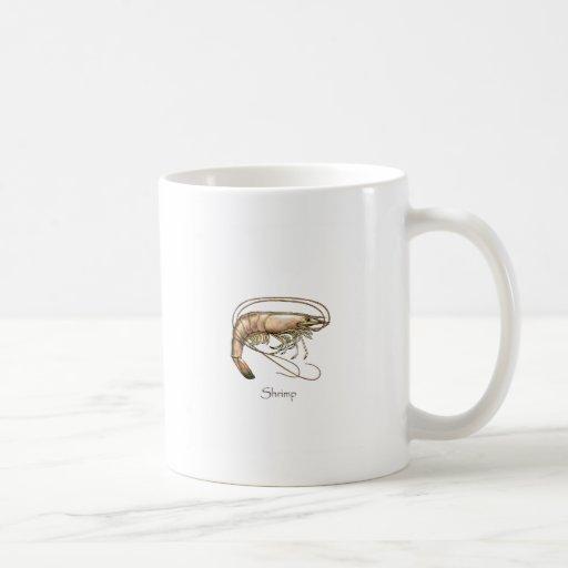 Logotipo meridional del arte del camarón tazas de café