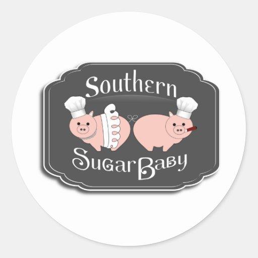 Logotipo meridional del bebé del azúcar - negro etiquetas redondas