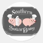 Logotipo meridional del bebé del azúcar - negro pegatina redonda