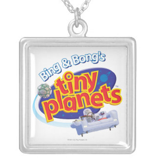 Logotipo minúsculo de los planetas colgante cuadrado