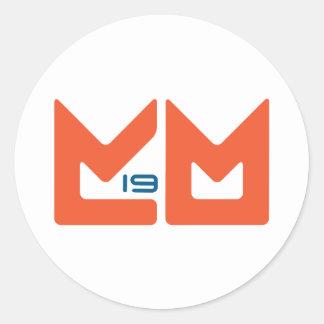 Logotipo - naranja y azul pegatina redonda