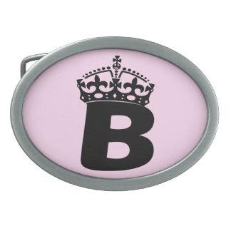 Logotipo negro de la reina B Hebillas Cinturon Ovales