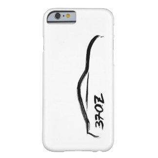 logotipo negro de la silueta 370z con el fondo funda de iPhone 6 barely there