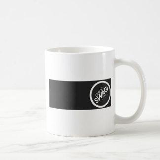 logotipo negro del rectángulo taza básica blanca