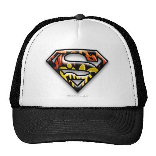 Logotipo negro del superhombre de la pintada del e gorros bordados