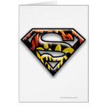Logotipo negro del superhombre de la pintada del e tarjetón