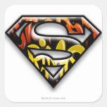 Logotipo negro del superhombre de la pintada del pegatina cuadradas personalizadas