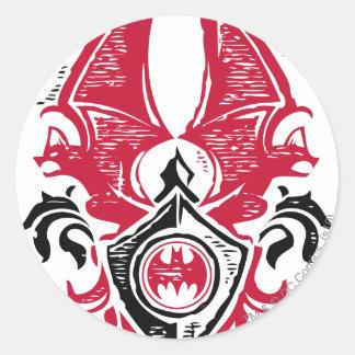Logotipo negro rojo del escudo del sello del palo pegatina redonda