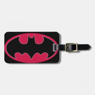 Logotipo negro rojo del símbolo el   de Batman Etiquetas De Equipaje