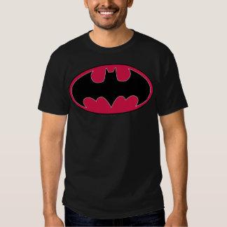 Logotipo negro rojo del símbolo el   de Batman Poleras