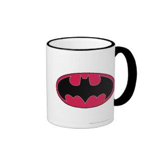 Logotipo negro rojo del símbolo el | de Batman Taza De Dos Colores