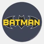 Logotipo negro y amarillo de Batman Pegatina Redonda