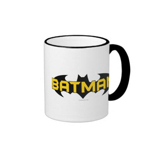 Logotipo negro y amarillo de Batman Tazas De Café