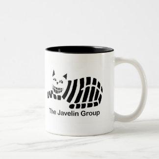 Logotipo negro y blanco de la jabalina tazas de café