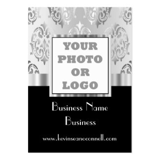 Logotipo negro y gris de la foto del damasco tarjetas de visita grandes