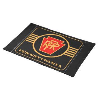 Logotipo, negro y oro del ferrocarril de mantel