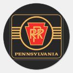 Logotipo, negro y oro del ferrocarril de pegatina redonda