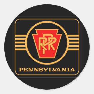 Logotipo negro y oro del ferrocarril de Pennsylva Etiquetas