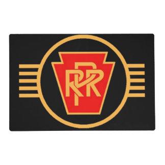 Logotipo, negro y oro del ferrocarril de tapete individual