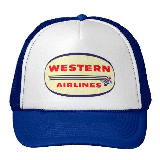 Logotipo occidental del vintage de las líneas aére gorros bordados