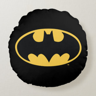 Logotipo oval del símbolo el | de Batman Cojín Redondo