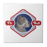 Logotipo patriótico del perro del pitbull azulejos ceramicos