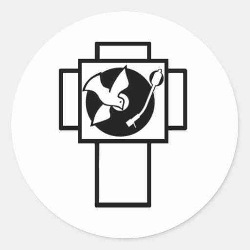 logotipo pegatina redonda