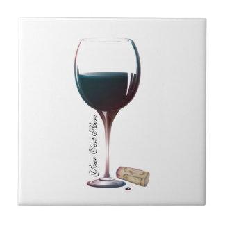 Logotipo personalizado arte de la copa de vino azulejo cuadrado pequeño
