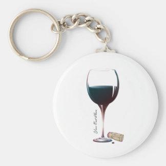 Logotipo personalizado arte de la copa de vino llaveros