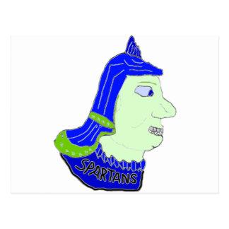 Logotipo principal espartano púrpura, oscuro y ver tarjetas postales