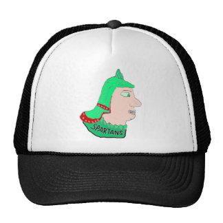 Logotipo principal espartano verde/rojo/melocotón gorros bordados