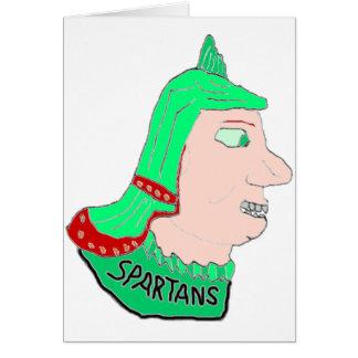 Logotipo principal espartano verde/rojo/melocotón tarjeta de felicitación