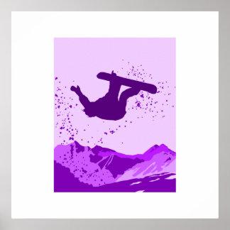 Logotipo púrpura de la snowboard impresiones