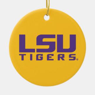 Logotipo púrpura de los tigres de LSU Adorno Navideño Redondo De Cerámica