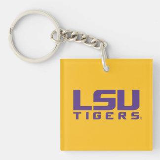 Logotipo púrpura de los tigres de LSU Llavero Cuadrado Acrílico A Una Cara
