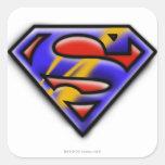 Logotipo púrpura del superhombre del aerógrafo pegatina cuadrada