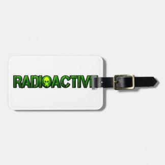 Logotipo radiactivo de la máscara etiqueta de equipaje