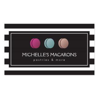 Logotipo rayado de lujo del trío de Macaron del Tarjetas De Visita