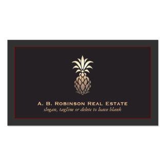 Logotipo real elegante de la piña de la agencia tarjetas de visita