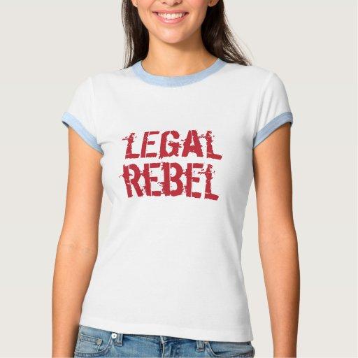 Logotipo rebelde legal del rojo del t del playeras