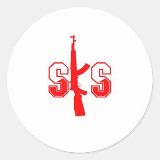 Logotipo Red.png del rifle de asalto de SKS Pegatina Redonda