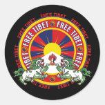 Logotipo redondo libre de Tíbet Etiqueta Redonda