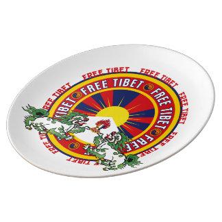 Logotipo redondo libre de Tíbet Platos De Cerámica