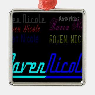 Logotipo regular de Nicole del cuervo y nombres Adorno Navideño Cuadrado De Metal