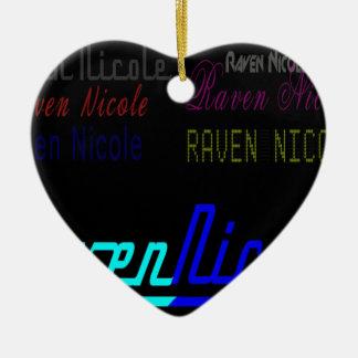 Logotipo regular de Nicole del cuervo y nombres Adorno Navideño De Cerámica En Forma De Corazón