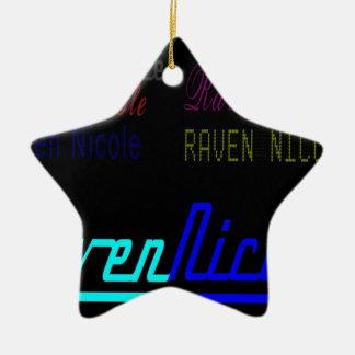 Logotipo regular de Nicole del cuervo y nombres Adorno Navideño De Cerámica En Forma De Estrella