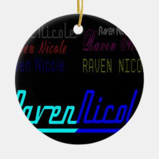 Logotipo regular de Nicole del cuervo y nombres Adorno Navideño Redondo De Cerámica