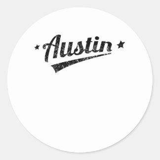 Logotipo retro apenado de Austin Etiqueta Redonda
