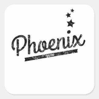 Logotipo retro apenado de Phoenix Calcomanía Cuadradas Personalizadas