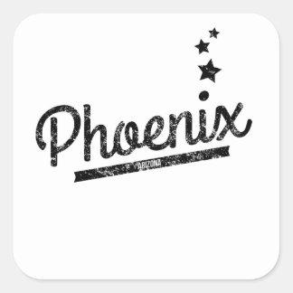 Logotipo retro apenado de Phoenix Calcomanía Cuadradas Personalizada